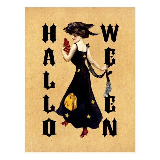 Vintage Halloween Lady Postcard