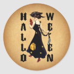 Vintage Halloween Lady Stickers
