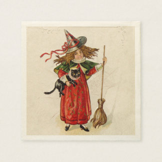 Vintage Halloween Little Witch Girl with a Cat Disposable Napkin
