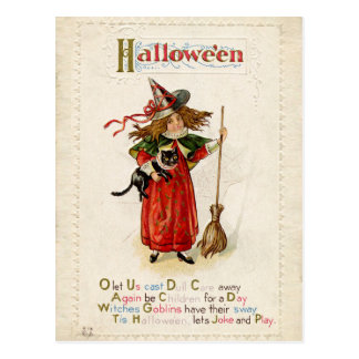 Vintage Halloween Little Witch Girl with a Cat Postcard