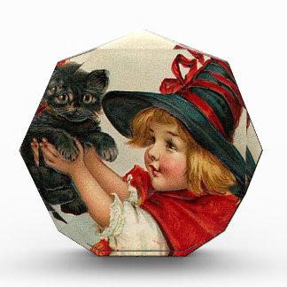 Vintage Halloween Little Witch Holding Black Cat Award