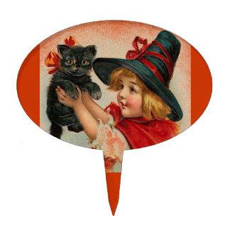 Vintage Halloween Little Witch Holding Black Cat Cake Pick