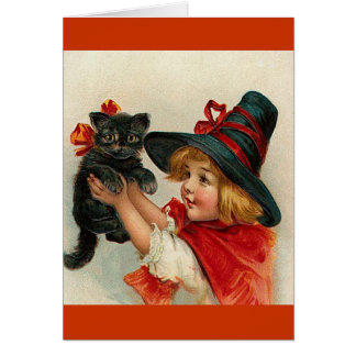 Vintage Halloween Little Witch Holding Black Cat Card