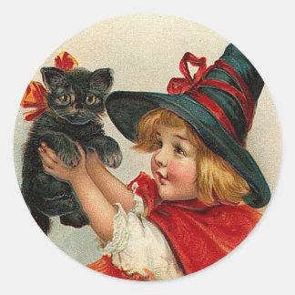 Vintage Halloween Little Witch Holding Black Cat Classic Round Sticker