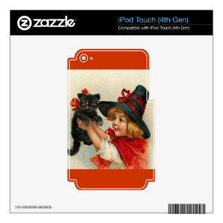 Vintage Halloween Little Witch Holding Black Cat Decal For iPod Touch 4G