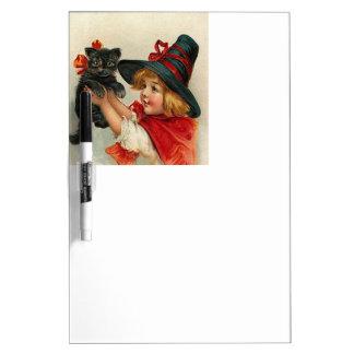 Vintage Halloween Little Witch Holding Black Cat Dry Erase Board