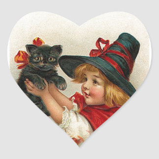 Vintage Halloween Little Witch Holding Black Cat Heart Sticker