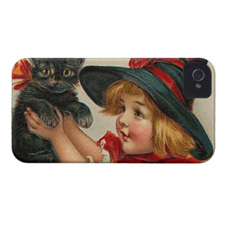 Vintage Halloween Little Witch Holding Black Cat iPhone 4 Case-Mate Case