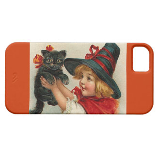 Vintage Halloween Little Witch Holding Black Cat iPhone SE/5/5s Case
