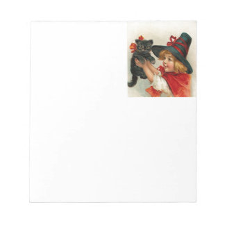 Vintage Halloween Little Witch Holding Black Cat Notepad