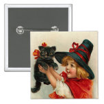 Vintage Halloween Little Witch Holding Black Cat Pinback Button