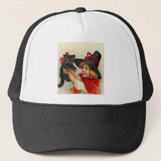Vintage Halloween Little Witch Holding Black Cat Trucker Hat