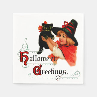 Vintage Halloween Little Witch Napkin Paper Napkins