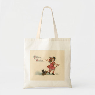 Vintage Halloween Little Witch Tote Bag