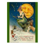 vintage-Halloween-luna-búho-palo de escoba Postal