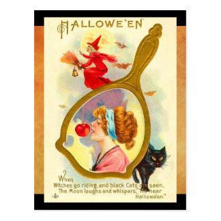 Vintage Halloween Magic Mirror Postcard