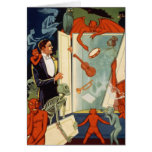 Vintage Halloween Magician and Spooky Magic Act Greeting Cards