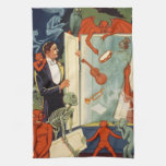 Vintage Halloween Magician and Spooky Magic Act Kitchen Towel