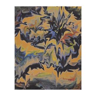Vintage Halloween Magma Volcano Abstract Retro Art Gallery Wrap Canvas