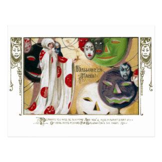 Vintage Halloween Masks and Pumpkins Postcard