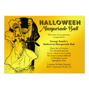 Vintage Halloween Masquerade Ball Party Invitation