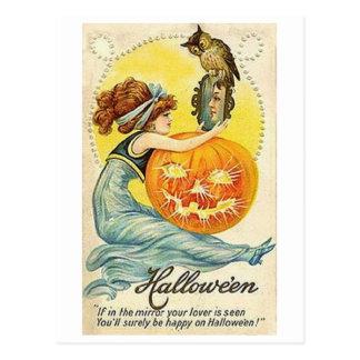 Vintage Halloween Mirror Card Postcard
