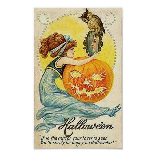 Vintage Halloween Mirror Card Poster