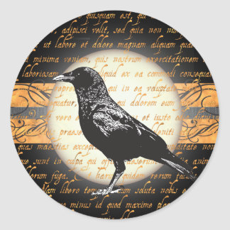 Vintage Halloween Nevermore Raven Stickers