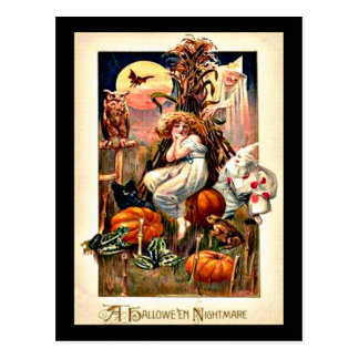 Vintage Halloween Nightmare Postcard