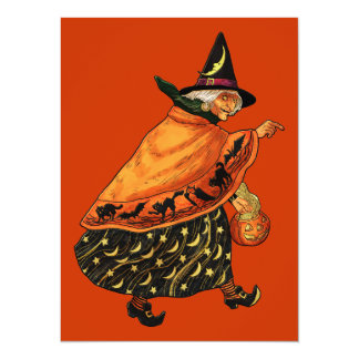Vintage Halloween Old Witch 5.5x7.5 Paper Invitation Card