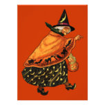 Vintage Halloween Old Witch Announcement