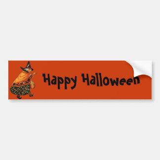 Vintage Halloween Old Witch Bumper Sticker