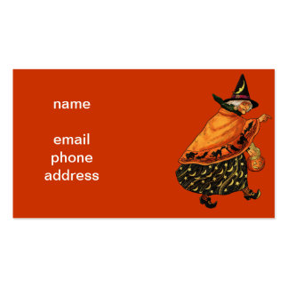 Vintage Halloween Old Witch Business Card