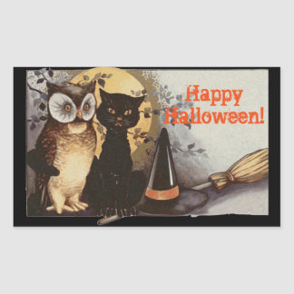 Vintage Halloween Owl and Black Cat at Night Rectangular Sticker