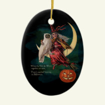 Vintage Halloween Owl and Witch Ornament