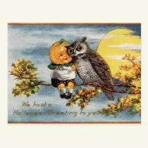 Vintage Halloween Owl Moon Pumpkin Postcard