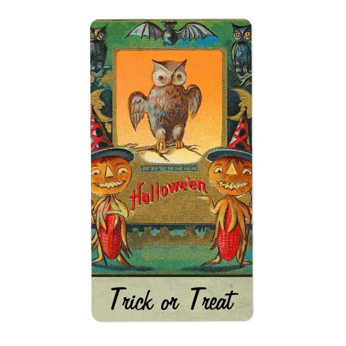 Vintage Halloween Owl Sticker Label