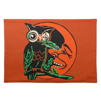 Vintage Halloween Owl Tickling the Moon Place Mats