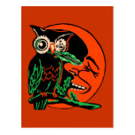 Vintage Halloween Owl Tickling the Moon Postcard