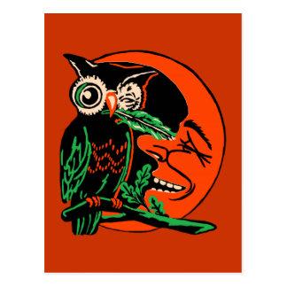 Vintage Halloween Owl Tickling the Moon Postcard