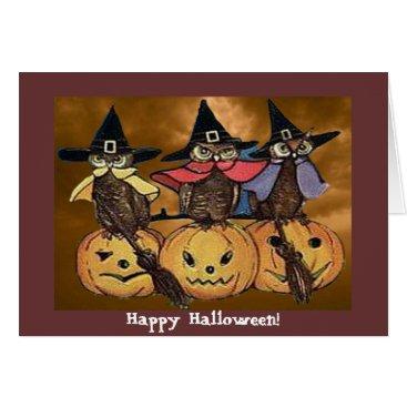 Halloween Themed Vintage Halloween Owls and Jack o' Lanterns Card
