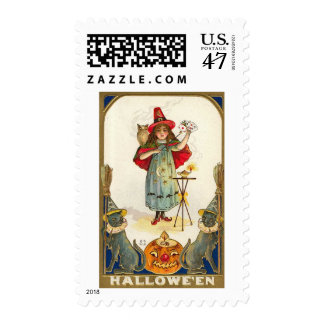 Vintage Halloween Owls Cards Girl Postage