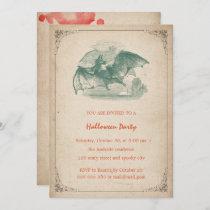 Vintage Halloween Party Bat Blood Splatter Simple Invitation