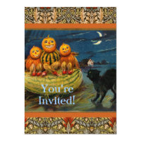 Vintage Halloween Party Black Cat Scary Pumpkins Card