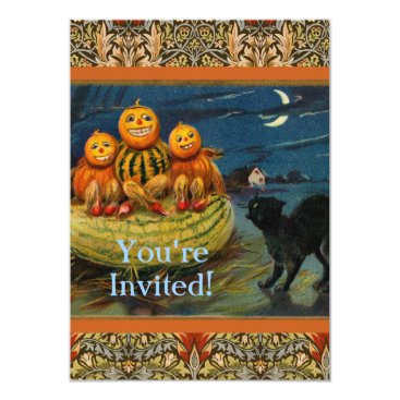 antiqueart Vintage Halloween Party Black Cat Scary Pumpkins Card