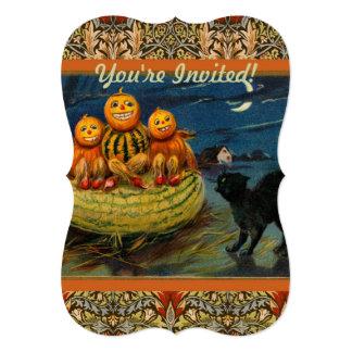 Vintage Halloween Party Black Cat Scary Pumpkins Card