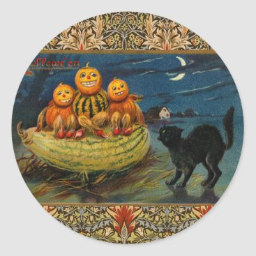 antiqueart Vintage Halloween Party Black Cat Scary Pumpkins Classic Round Sticker