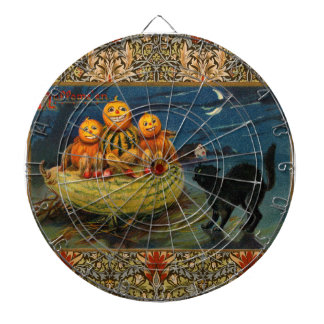 Vintage Halloween Party Black Cat Scary Pumpkins Dartboard With Darts