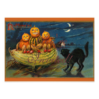 Vintage Halloween Party Black Cat Scary Pumpkins Personalized Invites