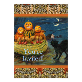 Vintage Halloween Party Black Cat Scary Pumpkins Announcements